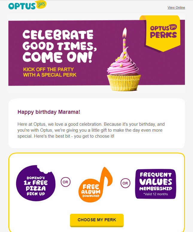 example birthday email